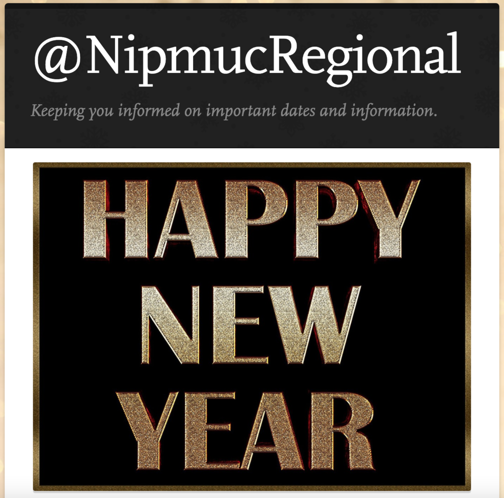 @NipmucRegional Newsletter for January 4, 2021