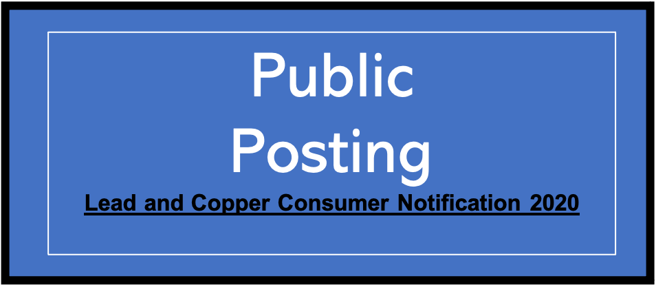 Lead and Copper Consumer Notification 2020